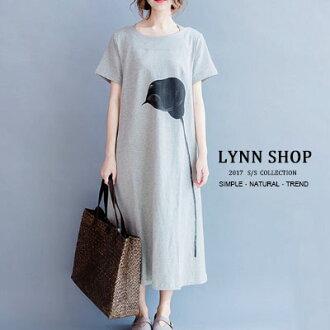 中大尺碼 文藝一枝花長版圓領上衣/連身裙【B-17-0014】LYNNSHOP
