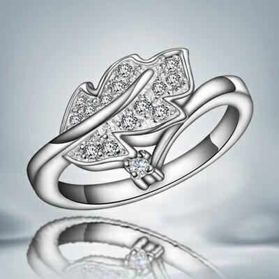 ~925純銀戒指鑲鑽銀飾~樹葉 迷人優雅百搭七夕情人節生日 女 73at141~ ~~米蘭