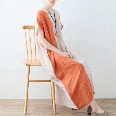 連身長裙寬版連衣裙-文藝優雅亞麻拼色女上衣73sm41【獨家進口】【米蘭精品】