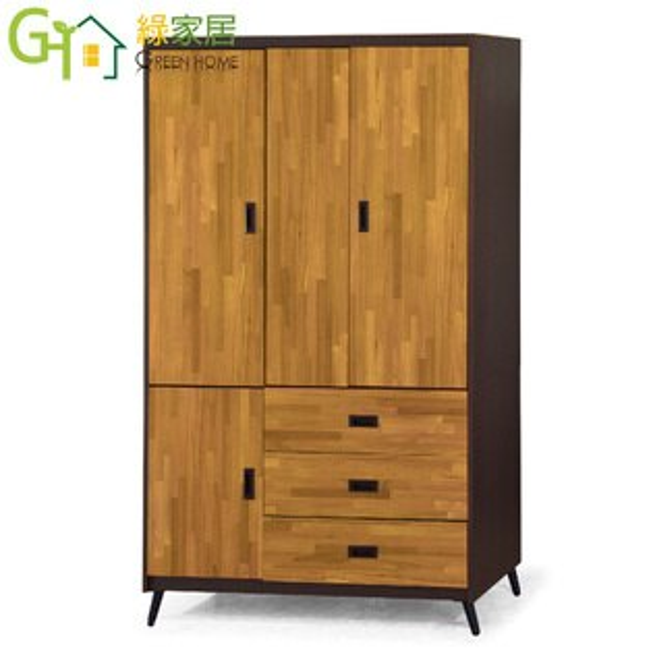 【綠家居】馬蒂時尚4尺四門衣櫃收納櫃(開放層格+吊衣桿+三抽屜)
