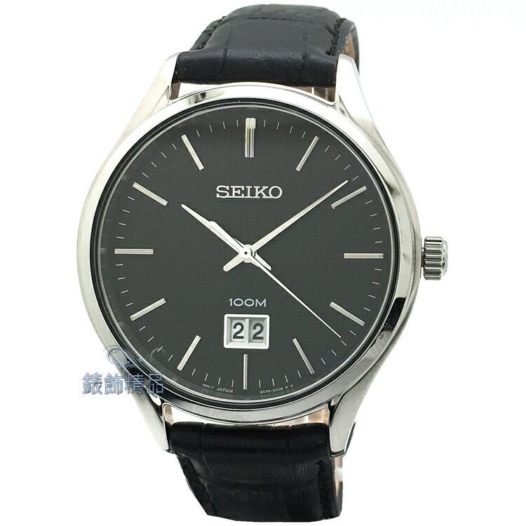 【錶飾精品】SEIKO手錶 精工表 品味卓越 黑面 大日期 黑色壓紋皮帶男錶 SUR023P2 全新原廠正品