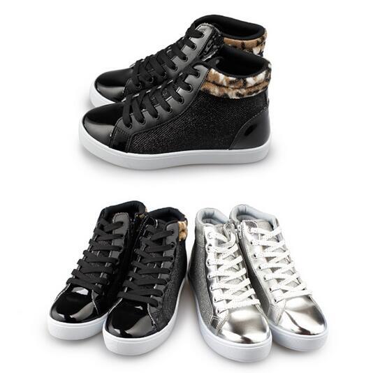 【My style】富發牌-J63 閃亮拼接質感高統鞋 黑.銀23-25號。任兩雙免運