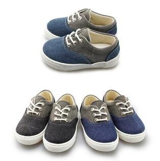 【Mystyle】富發牌-FNB22拼接質感童鞋黑灰.藍灰15-21號。任兩雙免運