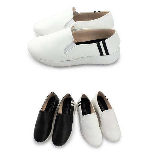 【My style】富發牌-FE85 雙線質感休閒鞋 白.黑,23.5-25號。任兩雙免運