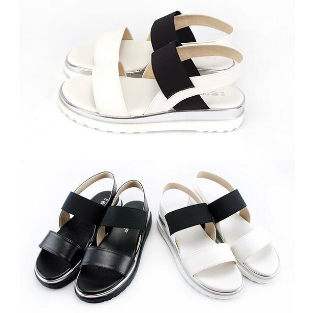 【My style】富發牌-MMFB17 黑白鬆緊淑女涼鞋 黑.白,23-25號。任兩雙免運
