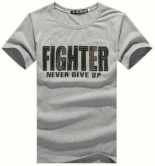 【My style】FIGHTER永不放棄的戰士短袖T恤。白/黑/灰,M/L/XL
