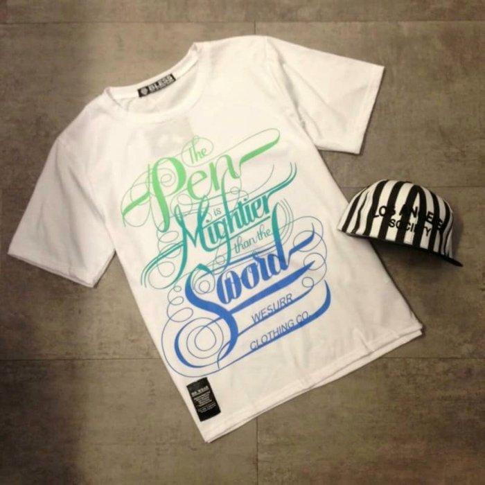【My style】色彩漸層英文字圖短袖T恤。白/黑/藍,M/L/XL
