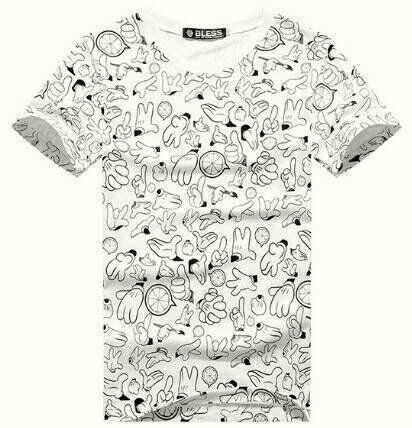 【My style】手勢滿版短袖T恤。白/黑/灰,M/L/XL
