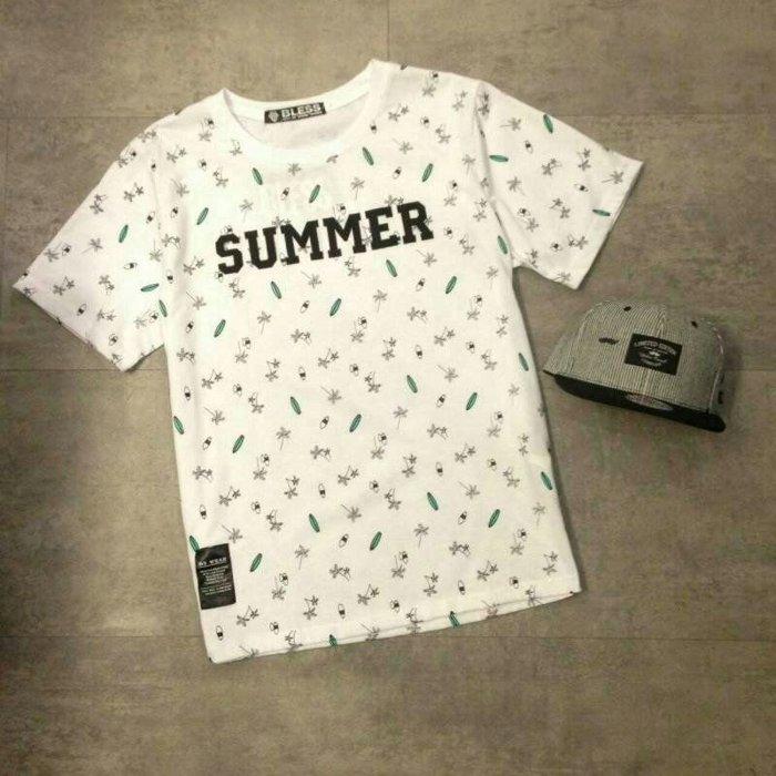 【My style】SUMMER滿版短袖T恤。白/黑,M/L/XL