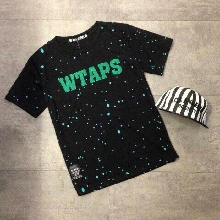 【My style】彩點WTAPS繡字短袖T恤。綠點/粉點,M/L/XL