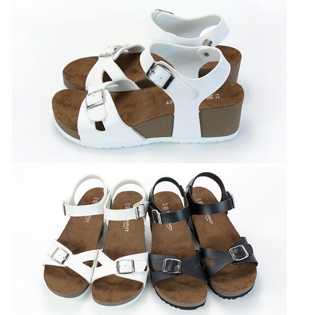 【My style】富發牌-MMN61 X扣環質感楔型鞋 黑.白,23-25號。任兩雙免運