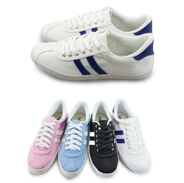 【Mystyle】富發牌-X08拼接休閒帆布鞋水藍.粉.黑.白,23-25偏小0.5任兩雙免運