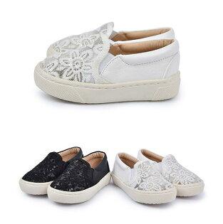【Mystyle】富發牌FNB50~蕾絲花兒便鞋-童鞋(黑.白)15-21號-任兩雙免運