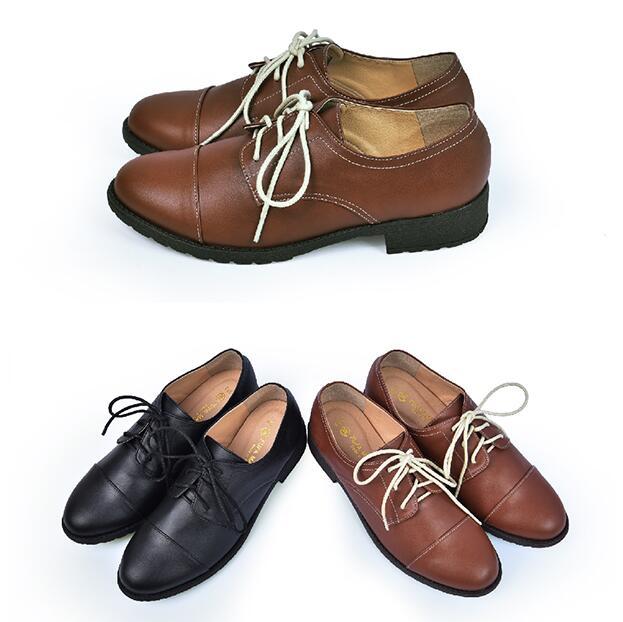 【My style】富發牌FE78~圓尖頭皮質跟鞋-休閒鞋(棕.黑)23-25號-任兩雙免運