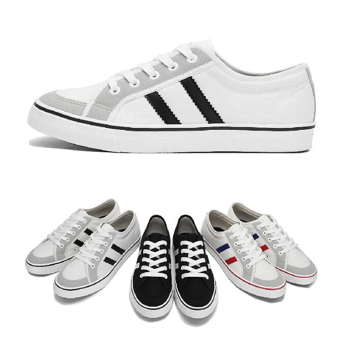 【My style】富發牌2XA01CSZ~雙線拼接帆布休閒鞋(黑/白、白/黑、紅/藍)23-25號-任兩雙免運