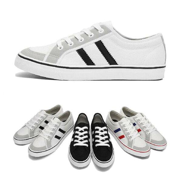 【Mystyle】富發牌2XA01CSZ~雙線拼接帆布休閒鞋(黑白、白黑、紅藍)26-28號-任兩雙免運