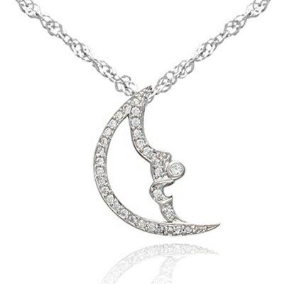 ~925純銀項鍊 鑲鑽吊墜~精緻小巧月亮 母親節情人節生日 女飾品73dk164~ ~~米