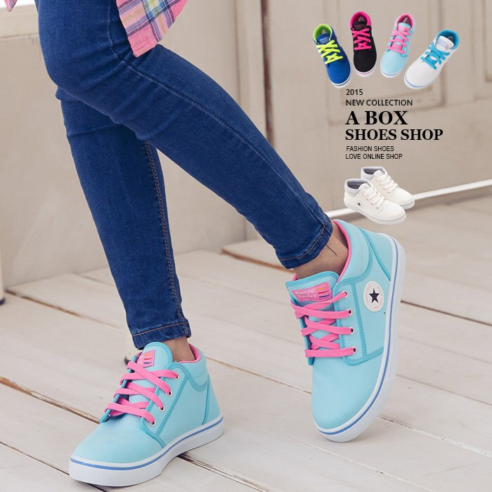 【AJ18020】MIT台灣製 百搭必備撞色系基本款中筒星星圖案帆布鞋 5色現貨 1