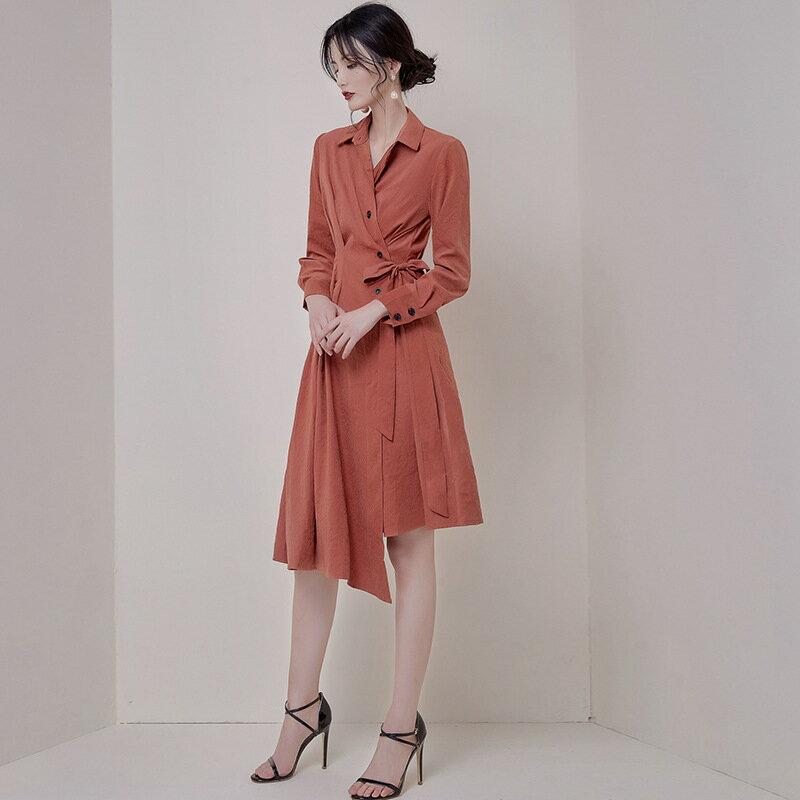 2021秋裝新款氣質修身顯瘦個性不規則下襬復古連衣裙