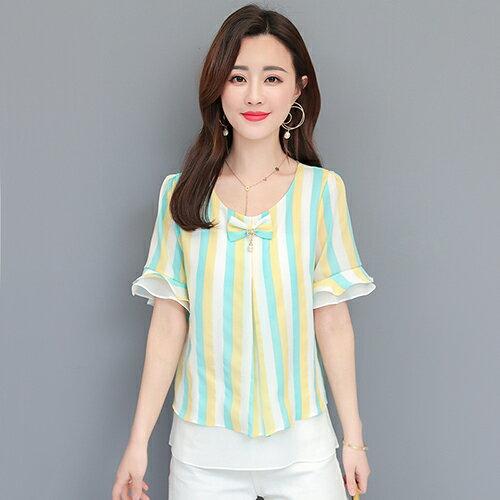 *ORead*韓版喇叭袖寬鬆顯瘦雪紡衫(4色M~4XL) 1