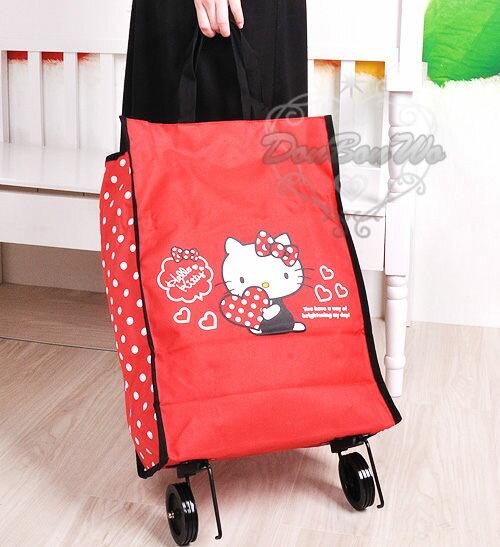 kitty手提環保購物袋滾輪BBQ烤肉菜籃行李袋海度