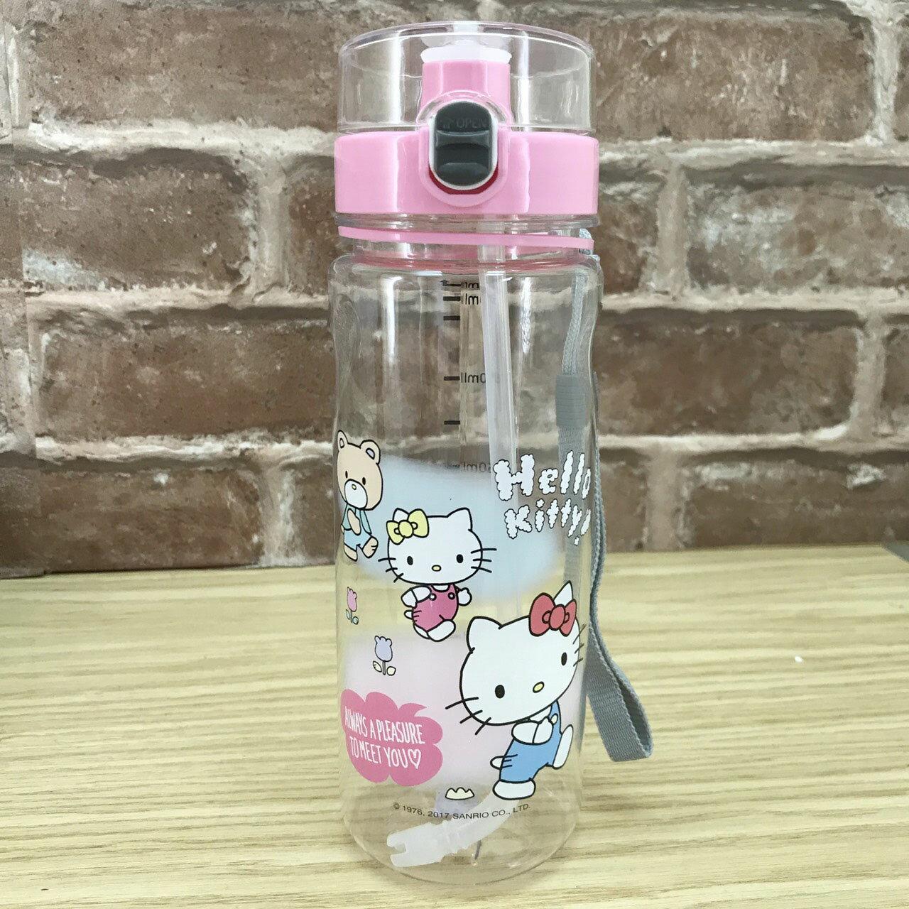 【真愛日本】17111600042 運動水壺附吸管-KT朋友粉 三麗鷗 kitty 凱蒂貓 透明吸管水壺 水瓶 日用品