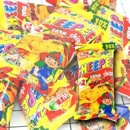 櫻桃飾品:CHEEPEE玉米片BBQ口味單包20g【櫻桃飾品】【27601】