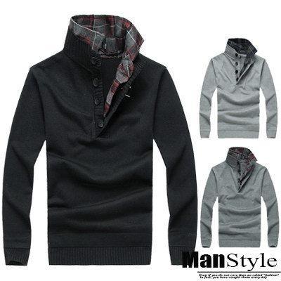 針織ManStyle潮流嚴選假二件格紋立領排釦好感針織毛衣上衣韓【09B0202】