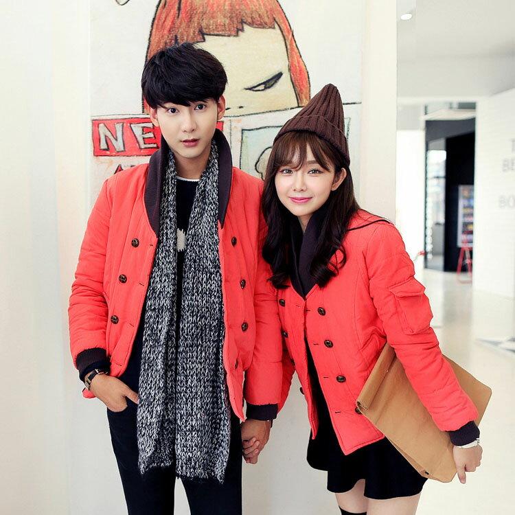 Mao 日韓新品修身立領短款雙排扣保暖情侶外套