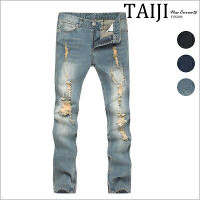TAIJI:牛仔長褲‧大面積刷破褲腳拉鍊設計牛仔長褲‧三色‧加大尺碼【NP1620】-TAIJI★
