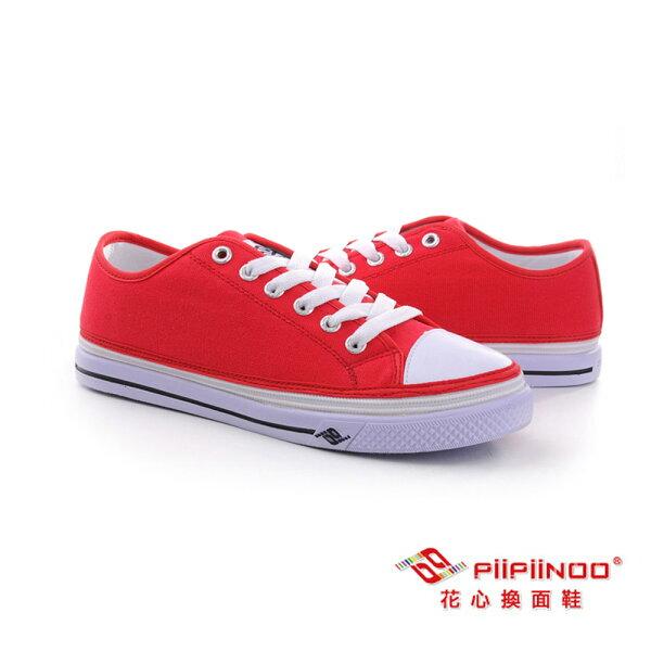 Aguchi亞古奇:PiiPiiNOO拉鍊換面鞋低筒帆布鞋–魔力紅