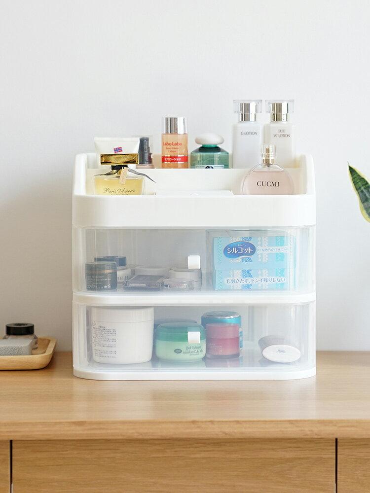 特大號桌面化妝品收納盒塑料家用帶鏡子護膚品置物架梳妝臺化妝盒1入