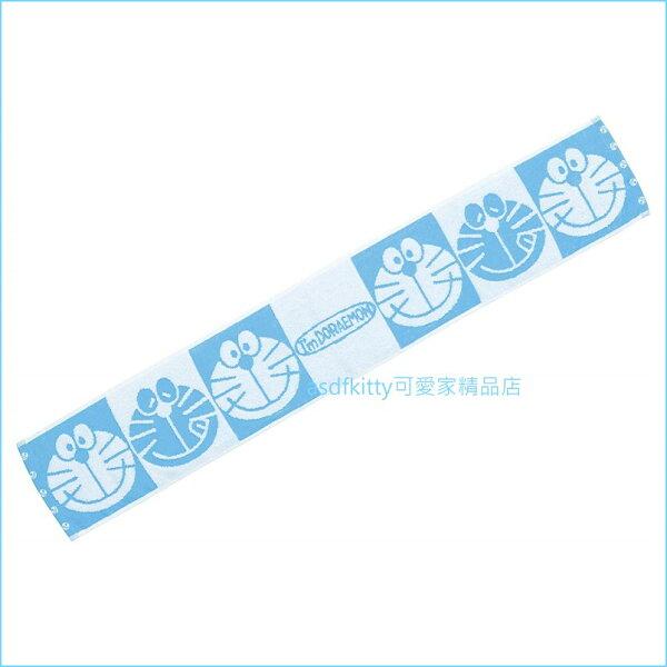 asdfkitty可愛家☆哆啦A夢藍色運動長毛巾-18*110公分-窄版長型-日本正版商品