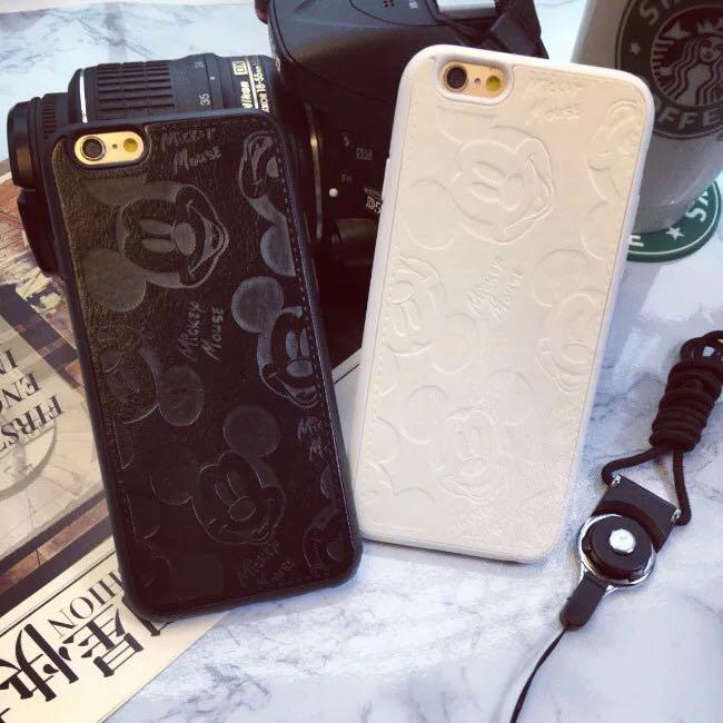 i6 i6s i6plus i7 i7plus 米奇 立體浮雕手機殼 皮質軟殼 蘋果7 可掛繩 手機保護殼【GP美貼】
