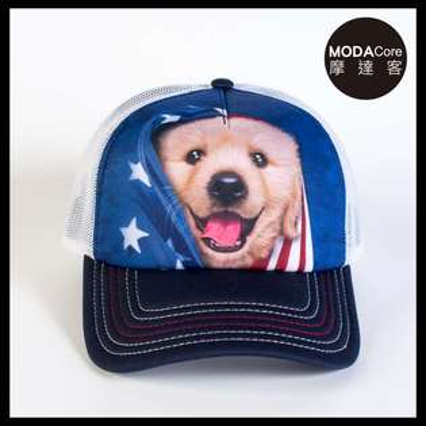 【摩達客】(預購)美國進口TheMountain愛國小黃金獵犬藝術棒球帽網帽5-Panel新五分割帽