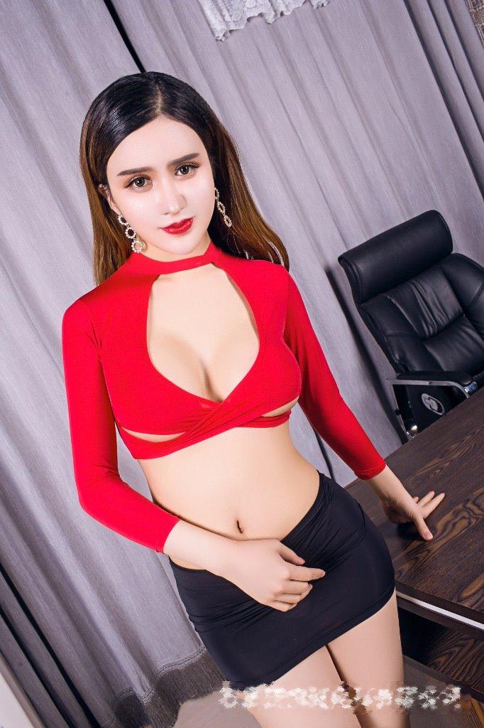 獨家款誘惑透明騷OL女祕書角色扮演套裝 性感超短背心+包屯短裙+絲襪 B6052