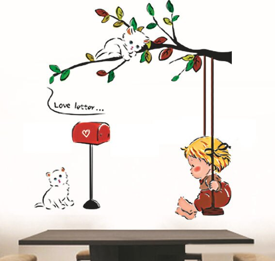 BO雜貨【YV0637】DIY時尚裝飾組合可移動壁貼 牆貼 壁貼 創意壁貼 鞦韆 小貓 信箱LD1209