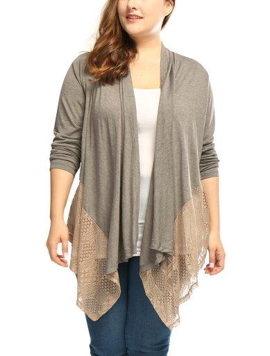 Unique Bargains Women's Plus Size Draped Front Asymmetric Hem Lace Panel Cardigan c45c397bfc70932cb334bd386856b1cf