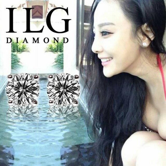 【ILG鑽】頂級八心八箭擬真鑽石耳環-單顆鑽石2克拉款 SP loves You閃耀美姬