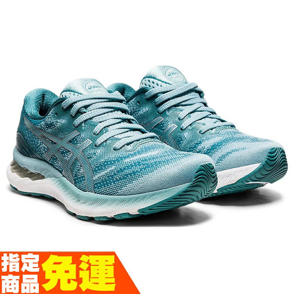 ASICS GEL-NIMBUS 23 一般楦 緩衝型 女慢跑鞋 湖水綠 1012A885-400 贈腿套 21SS