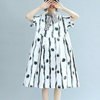 連衣裙短袖連身裙-時尚高腰寬鬆娃娃裙女裙裝73te44【獨家進口】【米蘭精品】