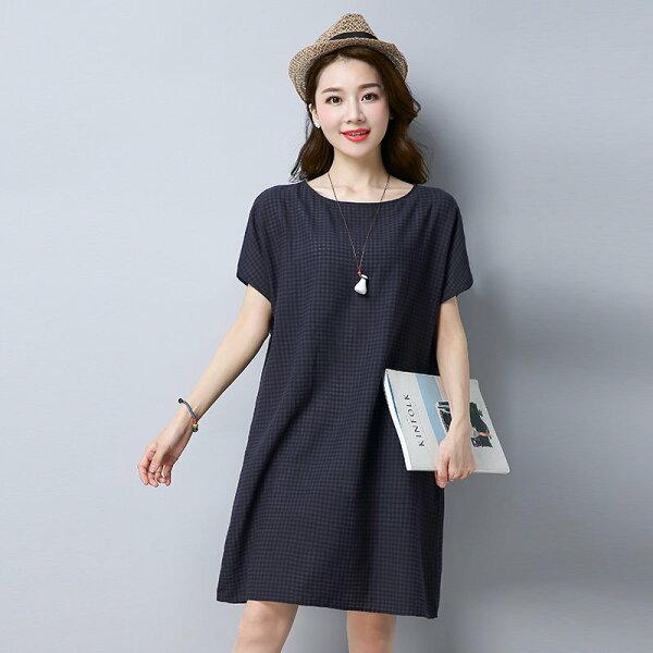 FINDSENSE G5 韓國時尚 文藝 短袖 格子 A字裙 中長款 棉麻 連身裙