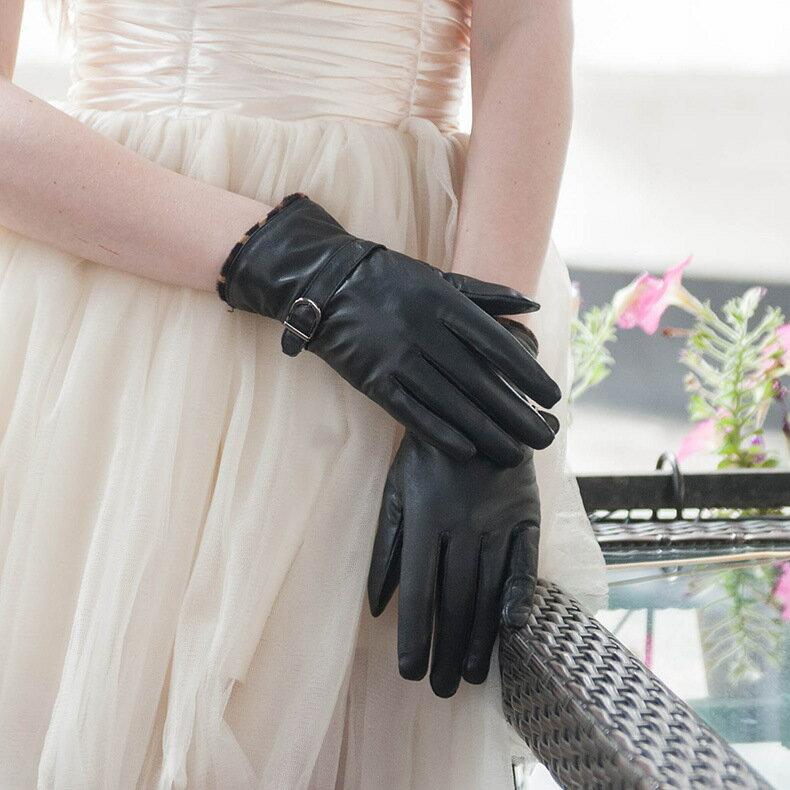 真皮手套保暖手套-羊皮加絨豹紋搭扣女手套73wm74【獨家進口】【米蘭精品】 2