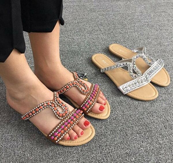 Pyf♥歐美民族風水鑽串珠銀色棕色一字平底拖鞋43大尺碼女鞋