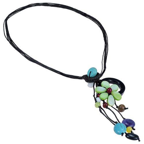 Pretty Drop Cluster Multi-Stone Green Flower Pendant-Necklace 1