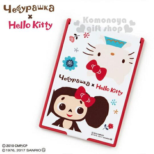 〔小禮堂〕Hello Kitty X 大耳查布 立鏡折疊鏡《白紅.花.半身》