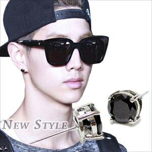 ☆ New Style ☆ GOT7 Mark 段宜恩 同款雙層圓冠鑲鑽耳釘耳環 (單支價)