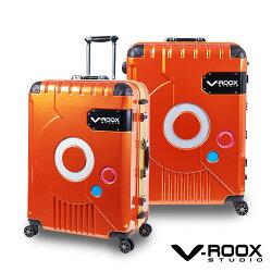 V-ROOX 28吋 ZERO潮版撞色太空艙 硬殼鋁框行李箱-橘色/金框