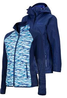 ├登山樂┤美國MarmotWayfarer女款GORE-TEX防水外套風雨衣兩件式水紋圖騰保暖化纖靛藍#36000-2975