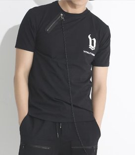 FINDSENSEMD韓國男街頭時尚暗黑酷炫拉鏈裝飾夜店髮型師潮人款打底衫特色短T